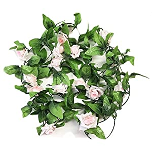 Miracliy 2 Pack 15 FT Fake Rose Vine Flowers Plants Artificial Flower Home Hotel Office Wedding Party Garden Craft Art Décor, Pink 4