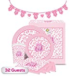 The Golden Choice - 32 Guests Baby Shower Plates Large/Small, Cups, Napkins, & Banner Party Set/Supplies Decorations or Gender Reveal - 129 Pieces ''It's A Girl'' (Pink) - Bundle