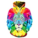 3D Colorful Lion,Men Hoodies Women Hooded Sweatshirts Autumn Novelty Pullover Male Tracksuits Fashion Printed Casual Outwear