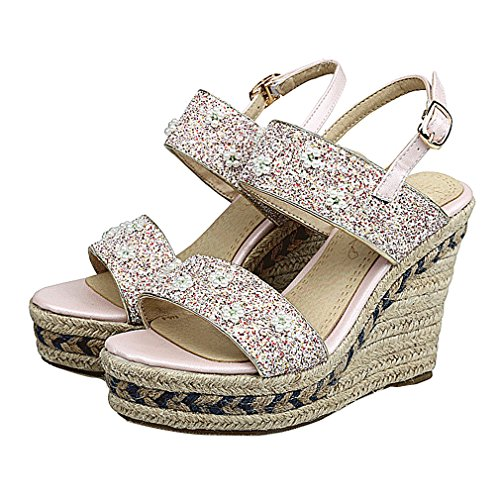 YE Damen Offen Knöchelriemchen Glitzer High Heel Plateau Sandalen mit Keilabsatz und Strass Bequem Schuhe Rosa