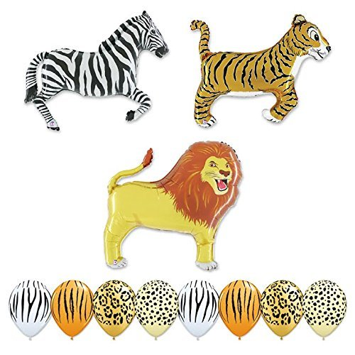Giant 11 pc Safari Balloon Animal Birthday Party kit]()