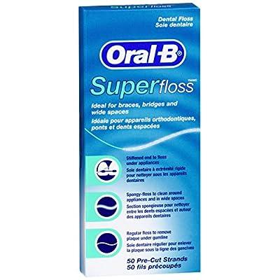 Oral-B Super Floss Mint Dental Floss Pre-Cut Strands 50 ea