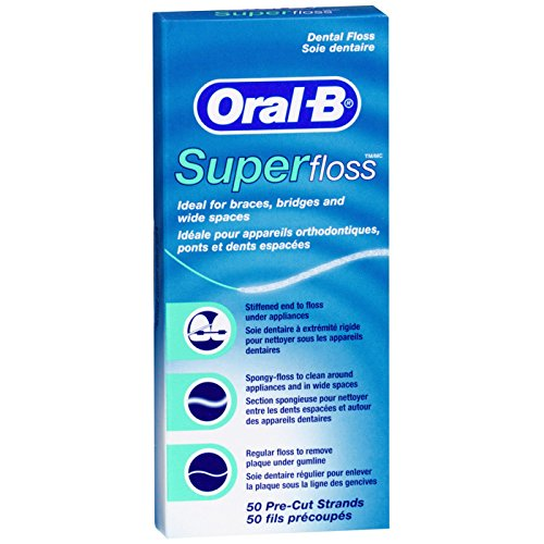 Oral-B Super Floss Mint Dental Floss Pre-Cut Strands 50 ea