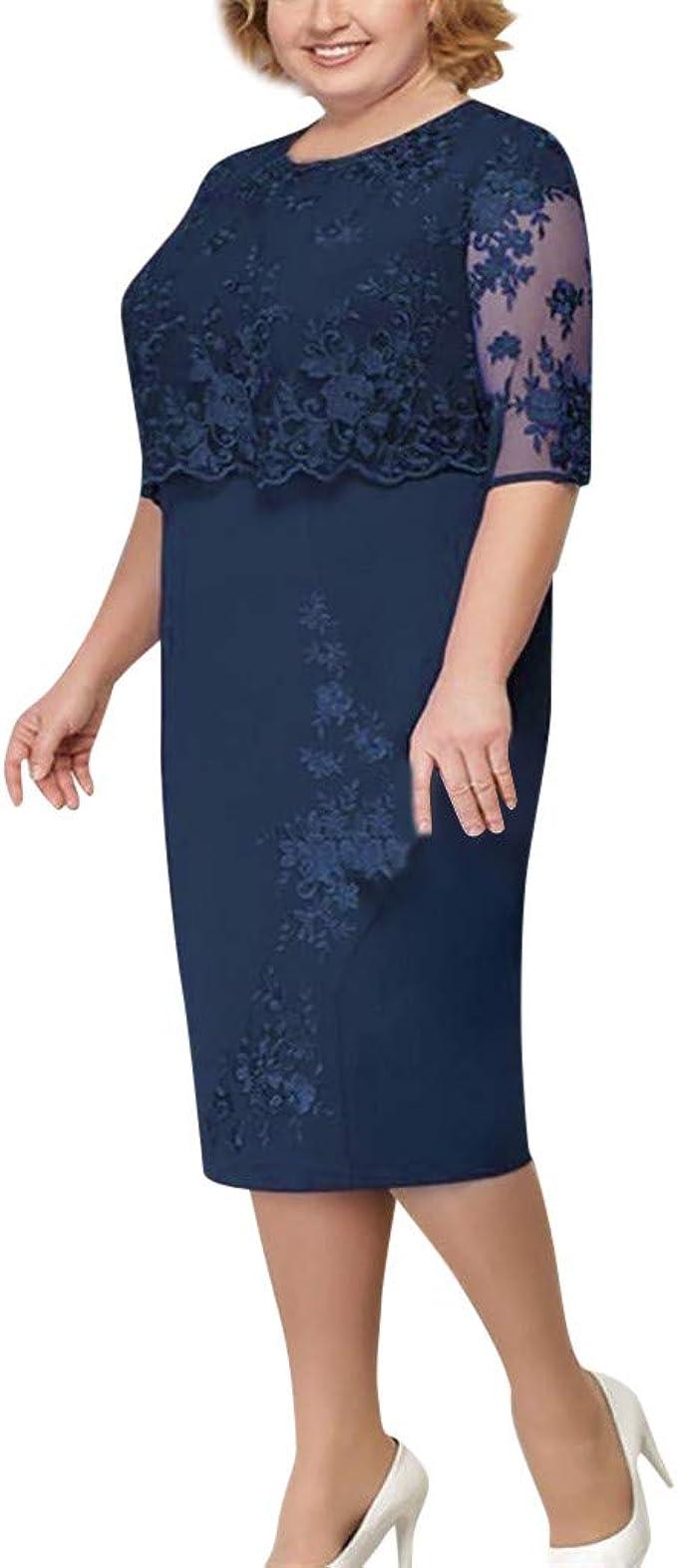 iLPM11212 Plus Size Kleider für Frauen GroßE GrößE Elegante Mutter Der Braut  Dress Mode Spitze Sheer 112/12 HüLse Feste Party Midi Kleid
