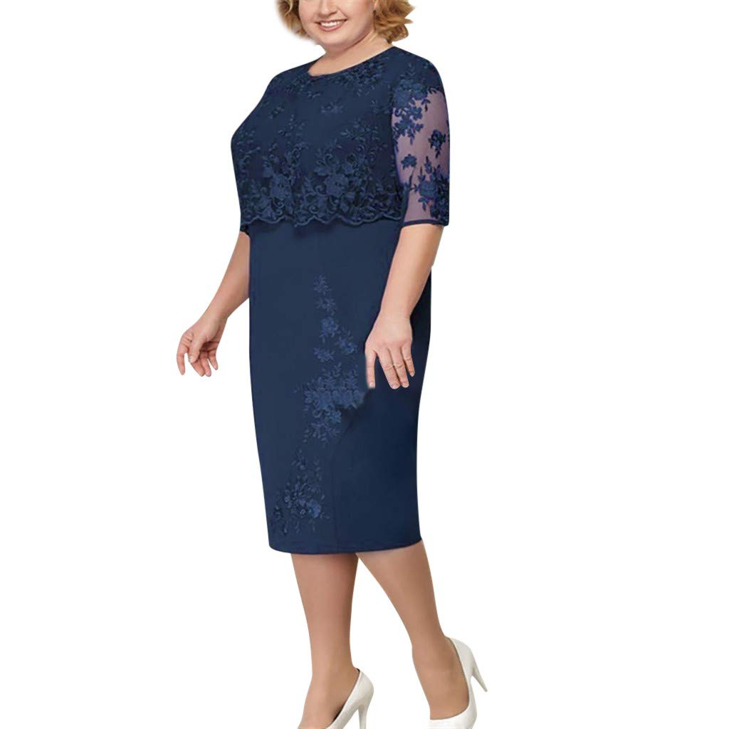 Seaintheson Womens Dress, Ladies Plus Size Cocktail Dress Short Sleeve Lace Midi Dress Elegant Evening Party Mini Skirt Navy by Seaintheson