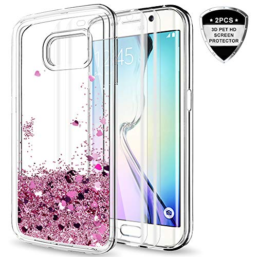 Galaxy S6 Edge Case with 3D Pet HD Screen Protector [2 Pack] for Girls Women,LeYi Glitter Bling Sparkle Moving Quicksand Liquid Clear TPU Protective Phone Case for Samsung Galaxy S6 Edge ZX Rose Gold