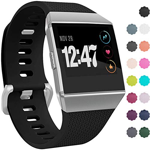 Wepro Bands Compatible with Fitbit Ionic SmartWatch, Watch Replacement Sport Strap for Women Men Kids, Buckle, Small, Black