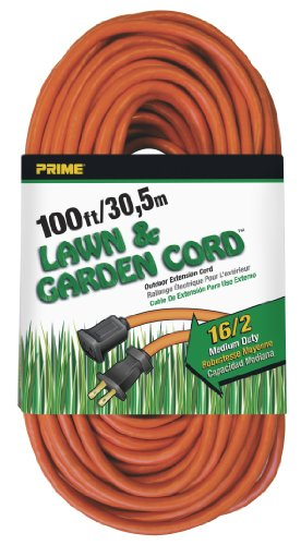 (Prime Wire & Cable EC481635 100-Foot 16/2 SJTW Lawn and Garden Outdoor Extension Cord, Orange)