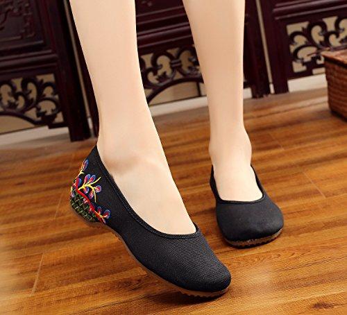 XYJHER Zapatillas de Vestir para Mujer, Diseño de Rayas Multicolores, con Plataforma de Bordado Chino negro