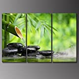 3 Panels Prints Green Spa Still Life With Bamboo Fountain And Zen Stone In Water Botanical Pictures Wall Painting Wooden Framed Hanging Artwork by uLinked Art
