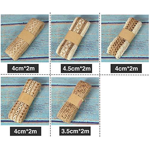 MoGist Ruban de No/ël en Chanvre avec Ruban /él/égant et Dentelle 3.5cm*2m Style1