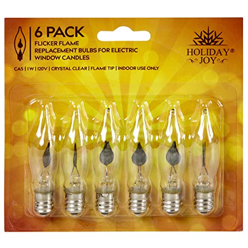 Holiday Joy - Flicker Flame Crystal Clear Flame Tip Candelabra Replacement Bulbs - Great for Electric Window Candle Lamps - CA5 - E12-1 Watt - 130 Volts (6 Pack)