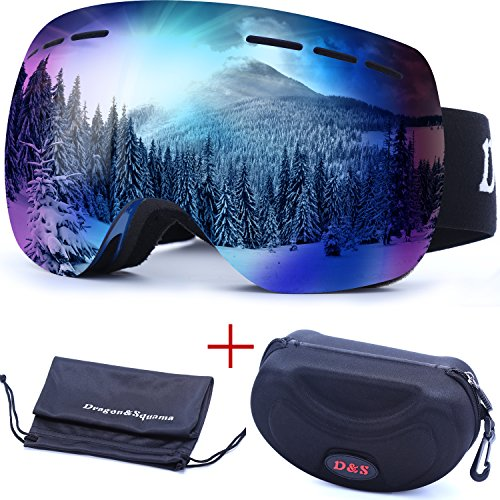 OTG Ski Goggles for Men Women, Detachable Dual Spherical REVO Lens UV400 Protection Anti Fog Skiing Goggle Over the Glasses for Snowboarding,Snowmobile Winter Snow Sport (Rose/Blue - Triple H Sunglasses