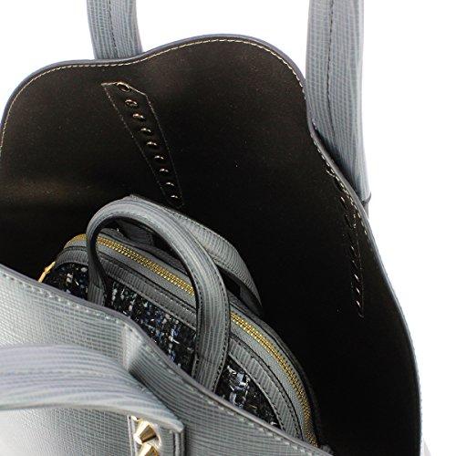 Trussardi Jeans Donna Borse a spalla 75B00029-1Y000056 K2 ASPEN ECOSAFFIANO DOME+POCHETTE BAG grey_grey, grau