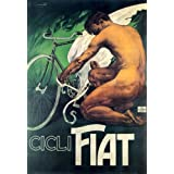 CICLI FIAT ITALIAN BICYCLE NUDE MAN TYING WING BIKE PEDAL ITALY VINTAGE POSTER REPRO