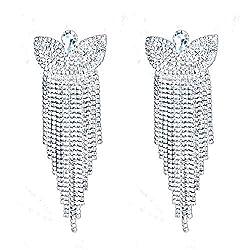 Silver Butterfly Tassels Earring With Sparkling Rhinestone
