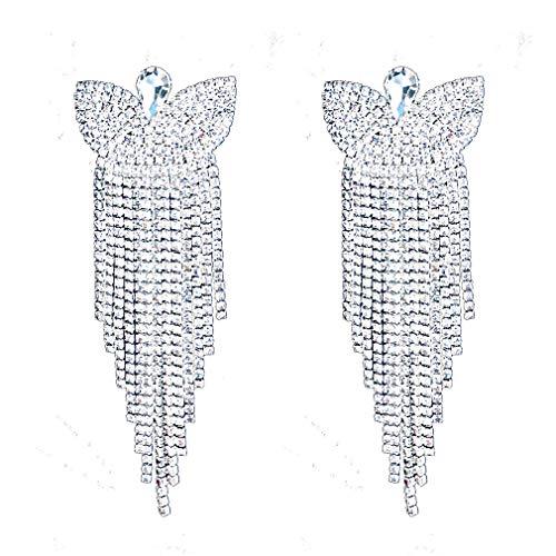 CHRAN Charm Rhinestone Long Tassels Earrings Classic Butterfly Design Teardrop Crystal Wedding Earrings