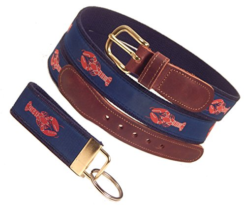 Preston Leather Red Lobster Belt, Navy, Sizes 30 to 50, FREE Matching Key Ring (Size - Claw Belt Lobster