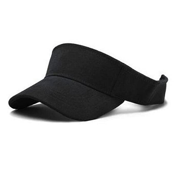 FuzzyGreen New Adjustable Golf Tennis Beach Plain Visor Sun Hat Sports Cap  (Black) cab928f6bc72