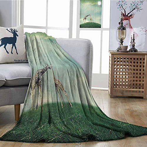 Zmcongz Super Soft Blankets Giraffe Mother Child Animal on Meadow Fairytale Atmosphere Shining Stars Romance Moon Image Warm Blanket W51 xL60 Multi]()