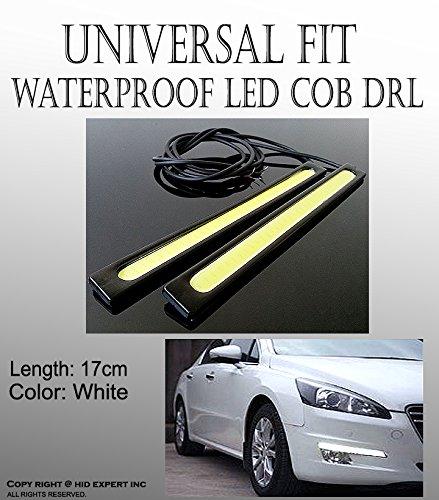 ICBEAMER 17cm LED Daytime Running Light (DRL) Black Waterproof Auto Light Strips with 3M Tape [Color:Super White]