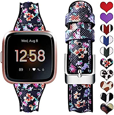 Supoix Bands Compatible with Fitbit Versa/Versa 2/Versa Lite, Leather Silicone Quick Release Replacement Sport Wristband Strap Accessories for Fitbit ...