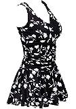 AONTUS Women's Plus-Size Polka Dot Shaping Body One Piece Swim Dresses Swimsuits (XXXX-Large(US Size:24W-26W), Four-Leaf Clover)