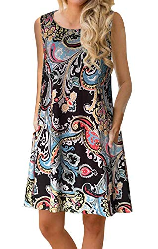 (Andaa Women Crew Neck Summer Sleeveless Dress Floral Printed Tank Summer Dresses with Pockets Black)