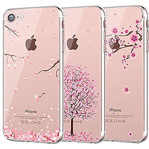 iPhone 7 Case, iPhone 8 Case, CarterLily [3-Pack] [Shock Absorption] Clear Cherry Blossoms Design Pattern Soft Flexible TPU Back Case for iPhone 7 iPhone 8 4.7'' - Pink