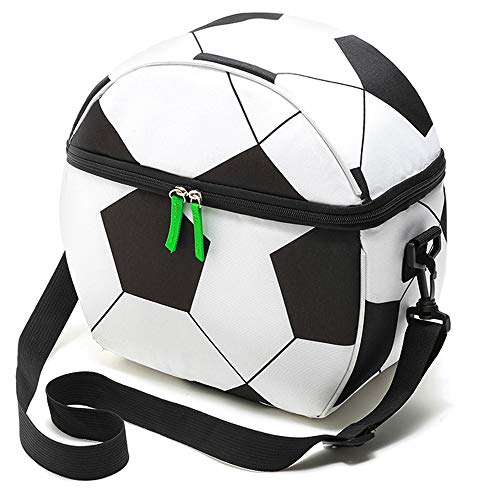 New Football Lunch Bags for Kids Insulated Lunch Box Cooler Reusable Bento Tote Bag with Adjustable Strap and Zip Closure 10L Large Capacity for School Picnic Outdoor Activities(Football)