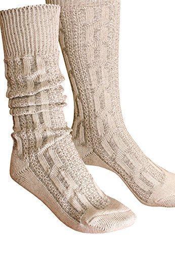 Trachtensocken Kniebundstrümpfe Socken Zopfmuster beige Strümpfe (44)