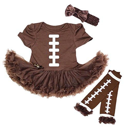 Girls Football Outfits (Petitebella Rugby Print Brown Bodysuit Brown Baby Dress Leg Warmer Nb-18m (6-12)