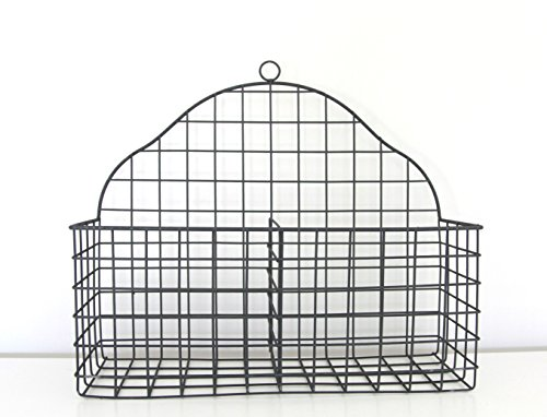 Tagway Home Black Metal Multi-functional Two Compartment Wire Storage Basket (Hanging Basket Potato)