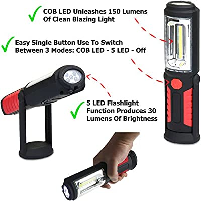 LED Work Light Flashlight for Home, Auto, Camping, Emergency Kit, DIY & More - Ultra-Bright Flood Light, Batteries Included