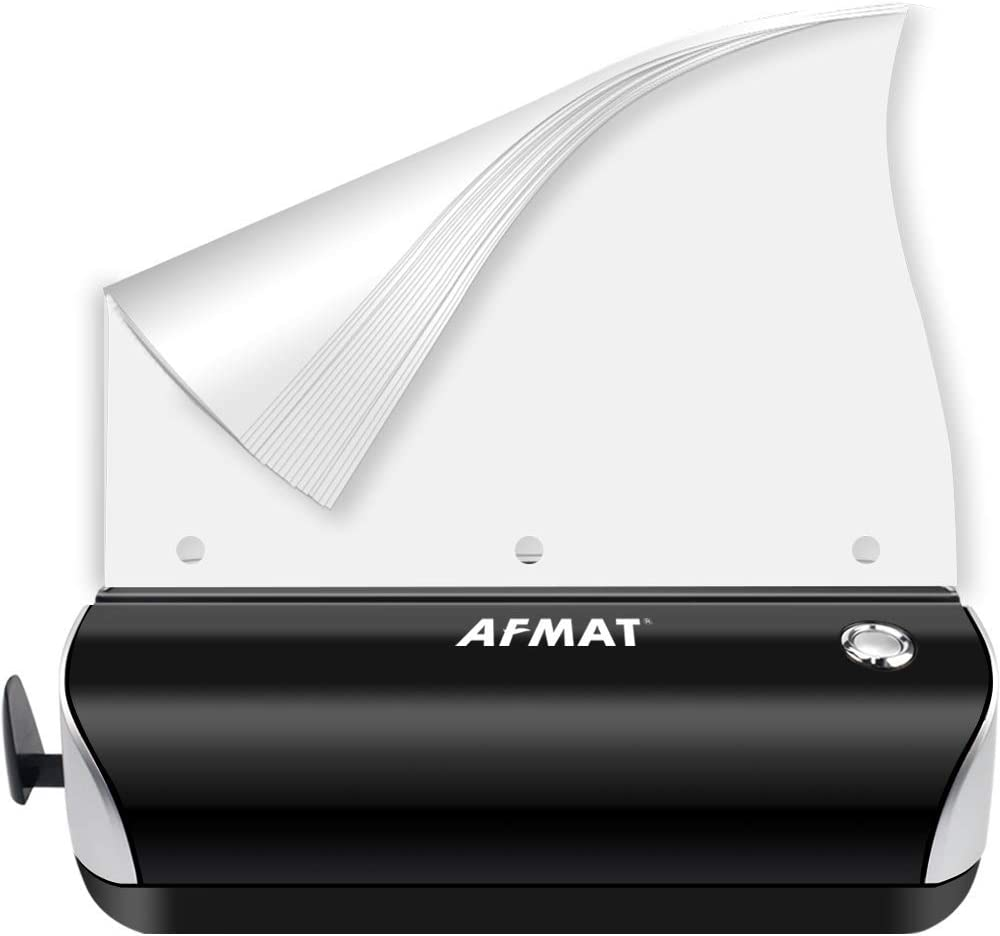 3 Hole Punch, AFMAT Electric Hole Punch Heavy Duty, 15-Sheet Paper Puncher, AC or Battery Operated 3 Hole Puncher, Effortless Punching, Long Lasting Paper Punch for Office School Studio,Black