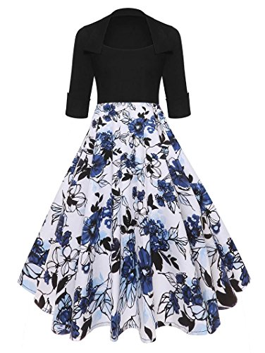 Hestenve Women Square Neck Vintage Floral Printed Cocktail Swing Tea Dresses