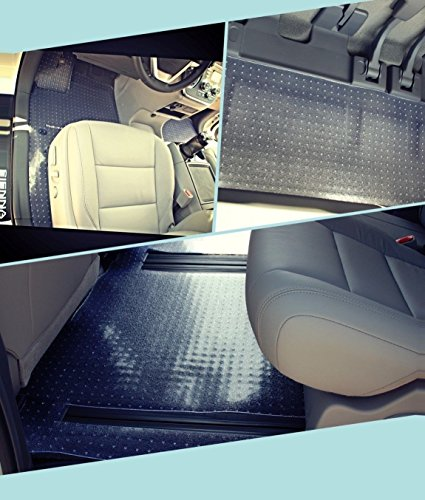 Puremats Toyota Sienna Floor Mats - 8 passengers Full Set + Storage Mat - All Weather - Heavy Duty - Crystal Clear - 2011-2018 -