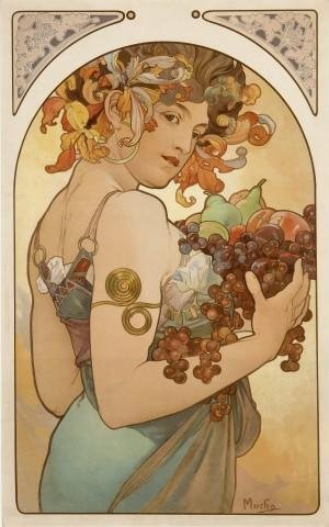 Wallmonkeys Fruit Alphonse Mucha Wall Decal Peel and Stick Graphic WM97590 (30 in H x 19 in W)