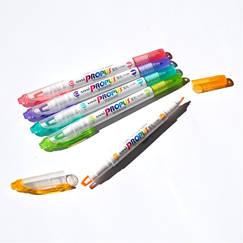 Uni Propus Window Soft Color Double-Sided Highlighter Pen with 4.0 mm/0.6 mm Twin Tip, 5 Color Set (PUS102T5CS)