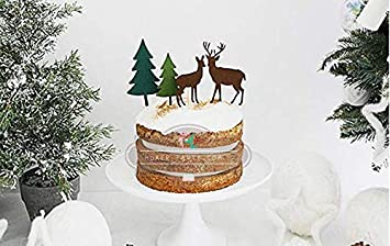 Lingdun 4pcs Set Cake Paper Pick Christmas Tree Christmas Elk