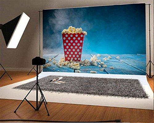(LFEEY Sea Blue Wooden Plank Style Photography Background 5x4ft Popcorn Kid Baby Infant Boy Studio Props Video Drape Wallpaper)