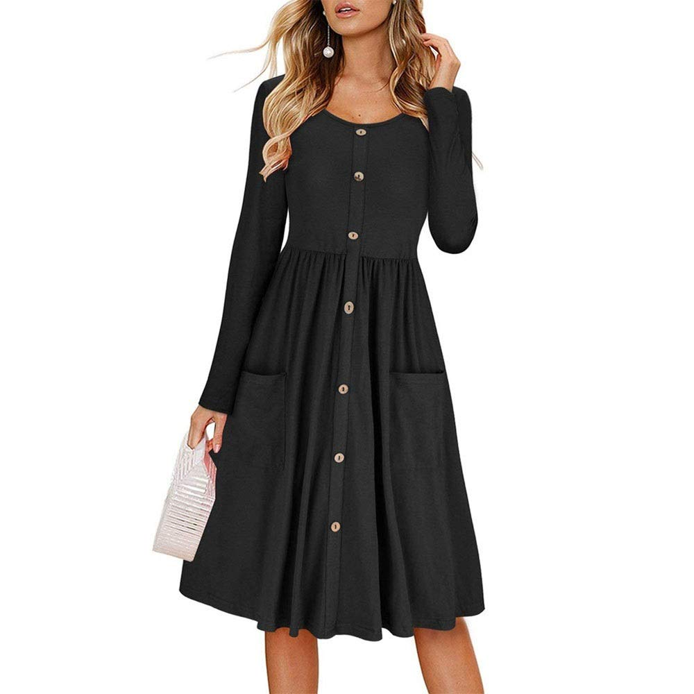 Black YY4 Women's Long Sleeve Crew Neck Button Down Swing Dress With Pockets