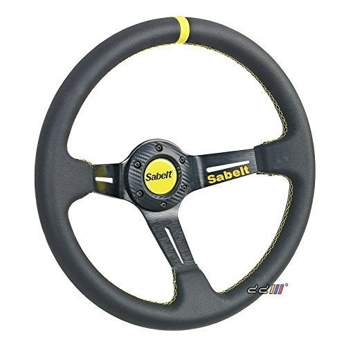 350mm SABELT Style 3 Spoke PVC Leather Deep Dish Sport for sale  Delivered anywhere in USA