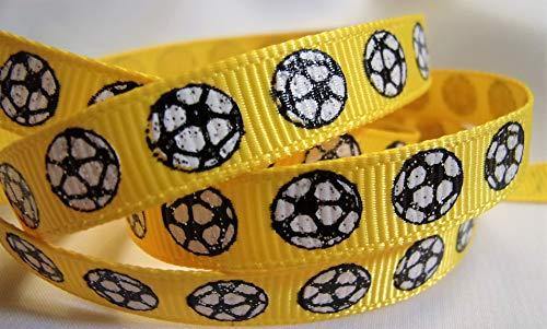 Soccer Ribbon - Grosgrain Ribbon - Glitter Soccer Ball Print On Yellow Ribbon - 3/8