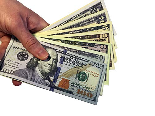DenYorkStore Play Money Mix 100/50/20/10/5/2/1 Dollars Bills -