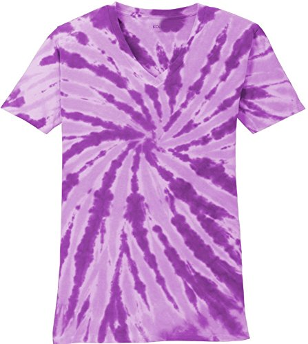 Koloa Surf Ladies Colorful Tie-Dye V-Neck T-Shirt-Purple-L ()