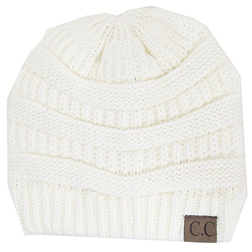 Thick Slouchy Knit Oversized Beanie Cap Hat, Ivory, One Size ()