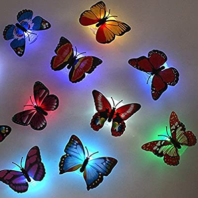 TAKSON Firefly Romantic Magic LED Colorful Butterfly Decorative Light Stick on Butterfly Wall light Decor LED Night Light-12 Pack For Festive Gift Garden home Party