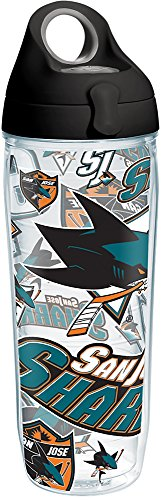 - Tervis 1266021 NHL San Jose Sharks All Over Tumbler with Wrap and Black with Gray Lid 24oz Water Bottle, Clear