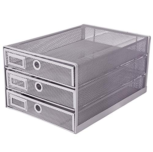 (Exerz Desk Organizer Wire Mesh 3 Tier Sliding Drawers Paper Sorter/Multifunctional/Premium Solid Construction for Letters, Documents, Mail, Files, Paper (Silver EX3205))